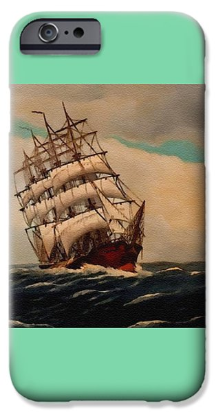 Abstract Digital Pastels iPhone Cases - Sailing Ship Dreams Catus 1 no. 1 H B iPhone Case by Gert J Rheeders