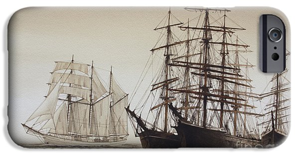 Sailing Ship Framed Prints iPhone Cases - Sailing Ships iPhone Case by James Williamson