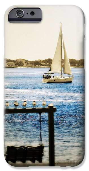 Sailboat Ocean iPhone Cases - Sailing Through Southport iPhone Case by Kelly Nowak