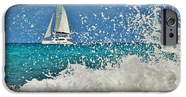 Sailboats iPhone Cases - Sailing Through The Sea Foam iPhone Case by Karl Anderson