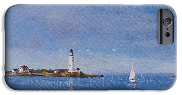 Boston Ma Paintings iPhone Cases - Sailing to Boston Light iPhone Case by Laura Lee Zanghetti
