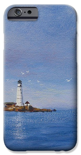 Sailing to Boston Light iPhone Case by Laura Lee Zanghetti