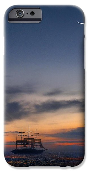 Tall Ship Digital iPhone Cases - Sailing to the Moon iPhone Case by Mike McGlothlen