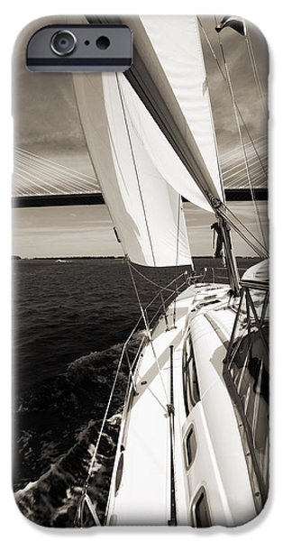 Sailboat Photographs iPhone Cases - Sailing Under the Arthur Ravenel Jr. Bridge in Charleston SC iPhone Case by Dustin K Ryan