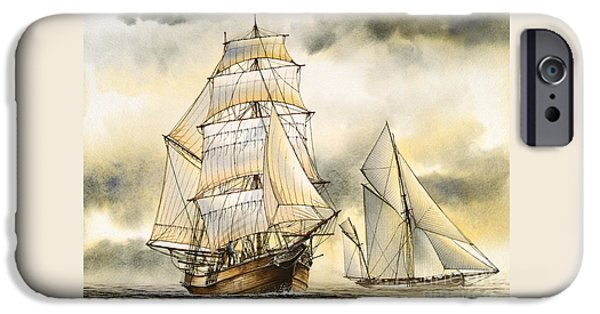 Sailing Ship Framed Prints iPhone Cases - Sailing Vessel ROMANCE iPhone Case by James Williamson