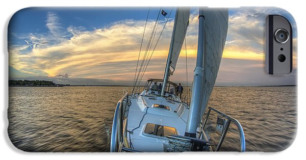 Sailing Yacht iPhone Cases - Sailing Yacht and Tropical Storm Ana Outflow  iPhone Case by Dustin K Ryan