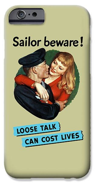 Lips Mixed Media iPhone Cases - Sailor Beware - Loose Talk Can Cost Lives iPhone Case by War Is Hell Store