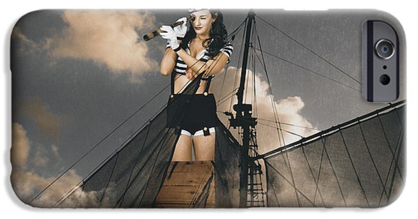 Pirate Ships iPhone Cases - Sailor pinup girl on lookout from ships crows-nest iPhone Case by Ryan Jorgensen