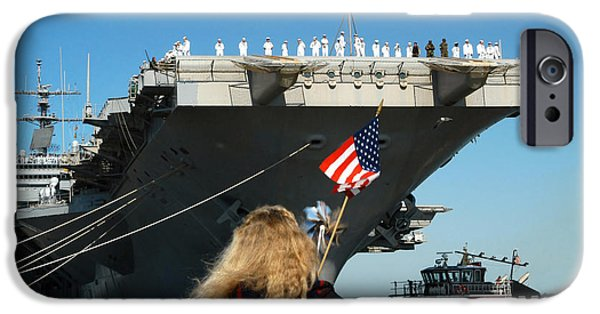 Enterprise Photographs iPhone Cases - Sailors Aboard Aircraft Carrier Uss iPhone Case by Stocktrek Images