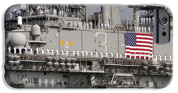 Recently Sold -  - Patriotism iPhone Cases - Sailors Aboard Uss Kearsarge Man iPhone Case by Stocktrek Images