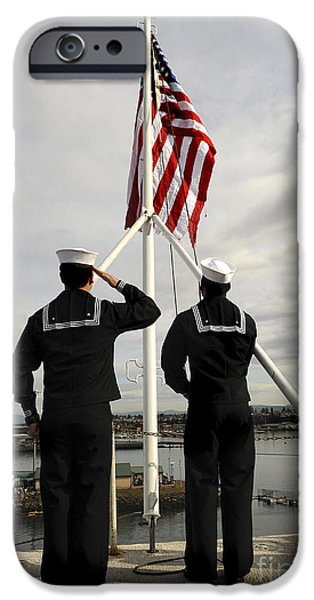 Adults Only iPhone Cases - Sailors Raise The National Ensign iPhone Case by Stocktrek Images