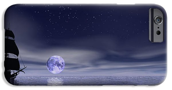 Pirate Ship iPhone Cases - Sails Beneath The Moon iPhone Case by Mark Blauhoefer