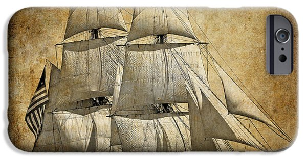 Tall Ship Mixed Media iPhone Cases - SAILS FULL and BY iPhone Case by Daniel Hagerman