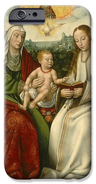 The Followers Paintings iPhone Cases - Saint Anne With The Virgin And The Christ Child iPhone Case by Master Of Frankfurt