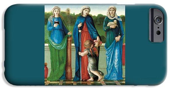 Balcony iPhone Cases - Saint Barbara and Saint Dorothy with Saint Agnes iPhone Case by Sir Edward Coley Burne-Jones