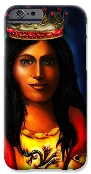 Spiritual Portrait Of Woman iPhone Cases - Saint Barbara iPhone Case by Carmen Cordova