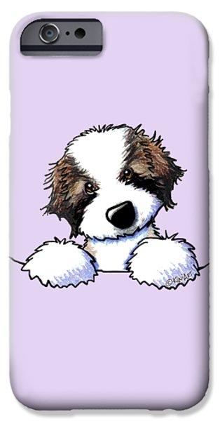 Kim Drawings iPhone Cases - Saint Bernard Puppy iPhone Case by Kim Niles