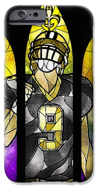 Quarterback iPhone Cases - Saint Brees iPhone Case by Mandie Manzano