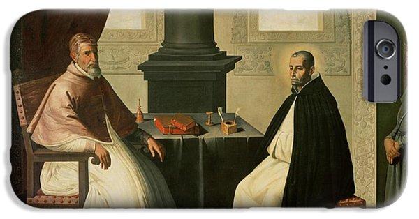 Pope iPhone Cases - Saint Bruno and Pope Urban II iPhone Case by Francisco de Zurbaran