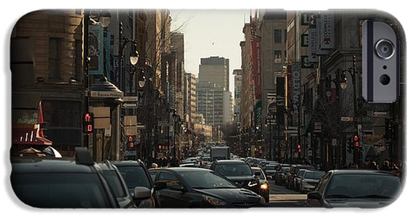 Business Photographs iPhone Cases - Saint Catherine Street iPhone Case by Adriana Assis