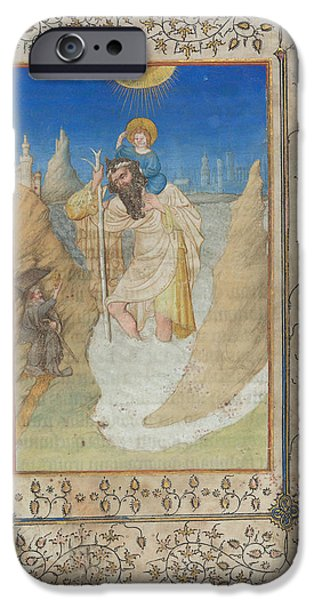 Jesus Drawings iPhone Cases - Saint Christopher Carrying The Christ Child iPhone Case by Limbourg Brothers