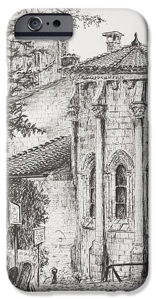 Table Wine Drawings iPhone Cases - Saint-Emilion iPhone Case by Vincent Alexander Booth
