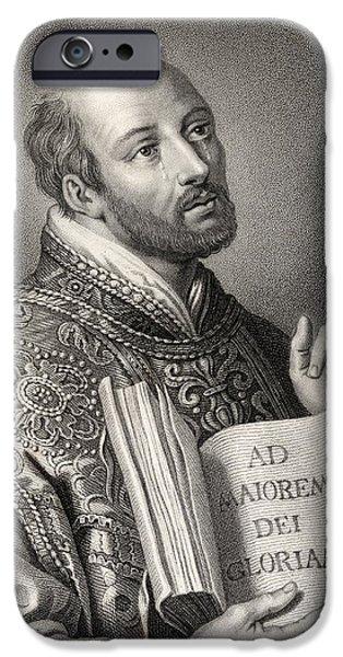 Jesus Drawings iPhone Cases - Saint Ignatius Of Loyola 1491-1556 iPhone Case by Vintage Design Pics