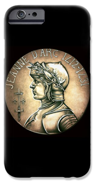 Coins Drawings iPhone Cases - Saint Joan of Arc iPhone Case by Fred Larucci