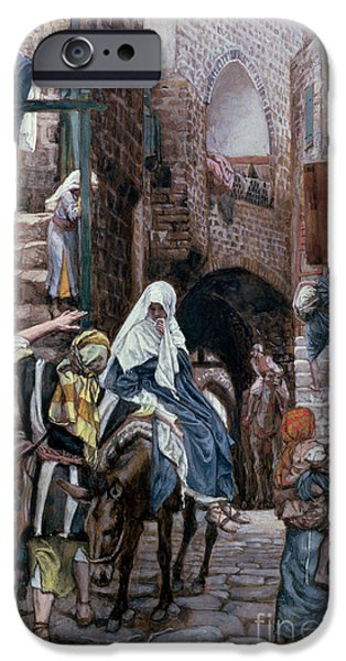 Bible Paintings iPhone Cases - Saint Joseph Seeks Lodging in Bethlehem iPhone Case by Tissot