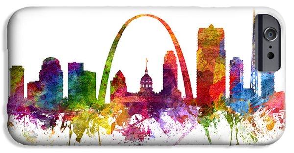 Saint Drawings iPhone Cases - Saint Louis Cityscape 06 iPhone Case by Aged Pixel