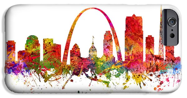 Saint Drawings iPhone Cases - Saint Louis Cityscape 08 iPhone Case by Aged Pixel