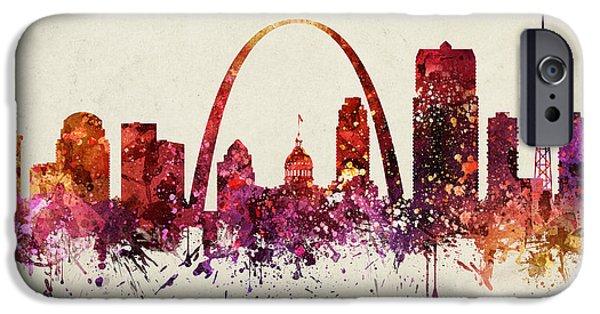 Saint Drawings iPhone Cases - Saint Louis Cityscape 09 iPhone Case by Aged Pixel