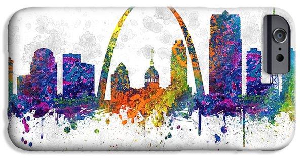 Saint Drawings iPhone Cases - Saint Louis Missouri color 03SQ iPhone Case by Aged Pixel