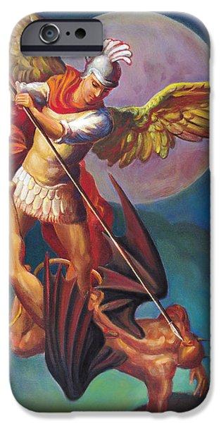 Miracle Digital iPhone Cases - Saint Michael the Warrior Archangel iPhone Case by Svitozar Nenyuk