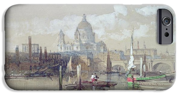 1796 iPhone Cases - Saint Pauls from the River iPhone Case by David Roberts