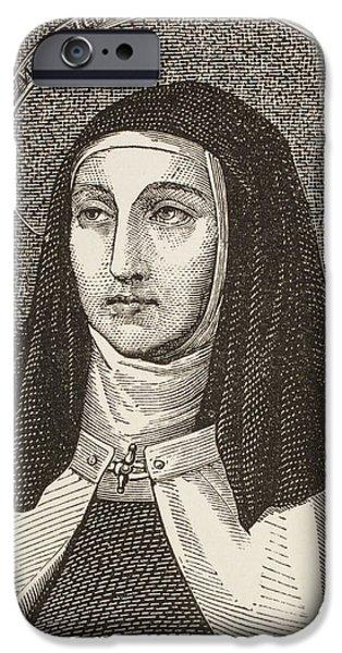 Jesus Drawings iPhone Cases - Saint Teresa Of iPhone Case by Vintage Design Pics