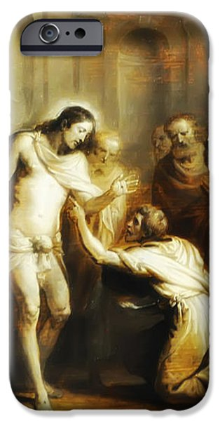 Saint Thomas Touching Christ's Wounds iPhone Case by Bill Cannon