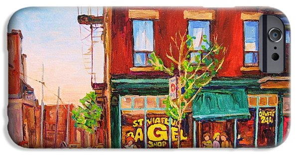 Montreal Land Marks Paintings iPhone Cases - Saint Viateur Bagel iPhone Case by Carole Spandau