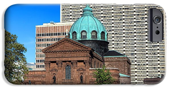 Franklin iPhone Cases - Saints Peter and Paul and Sheraton Hotel in Philadelphia  iPhone Case by Olivier Le Queinec