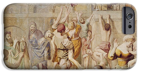 Stone Steps iPhone Cases - Saitn Cecilia Distributing Alms iPhone Case by Domenichino