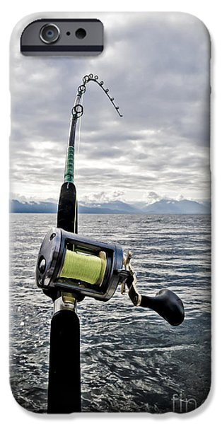 Fishing iPhone Cases - Salmon Fishing Rod iPhone Case by Darcy Michaelchuk