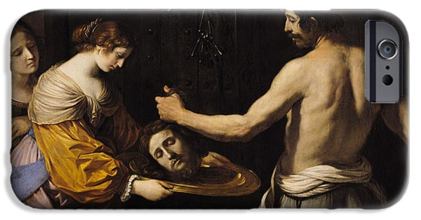 New Martyr iPhone Cases - Salome Receiving the Head of St John the Baptist iPhone Case by Giovanni Francesco Barbieri