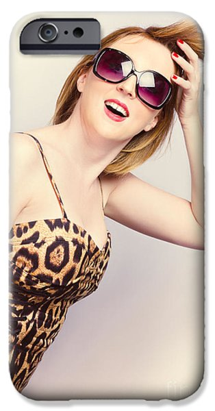 Youthful iPhone Cases - Salon woman with beauty hair and red manicure iPhone Case by Ryan Jorgensen