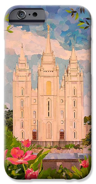 Recently Sold -  - Buildings Mixed Media iPhone Cases - Salt Lake City Temple iPhone Case by Robin Birrell