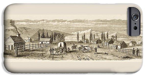 Jesus Drawings iPhone Cases - Salt Lake City Utah In 1850. From iPhone Case by Vintage Design Pics