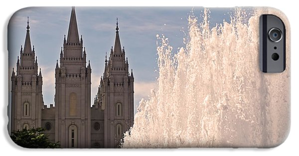 Church iPhone Cases - Salt Lake Temple and Fountain iPhone Case by Rona Black