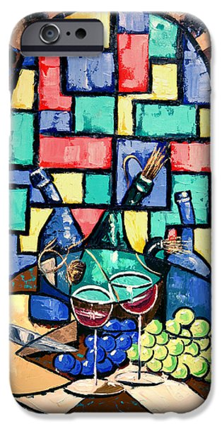 Table Wine Digital iPhone Cases - Salute Happy Hour In Tuscany iPhone Case by Anthony Falbo