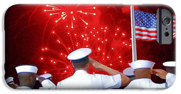 4th Of July iPhone Cases - Salute to the Flag iPhone Case by Janette Boyd