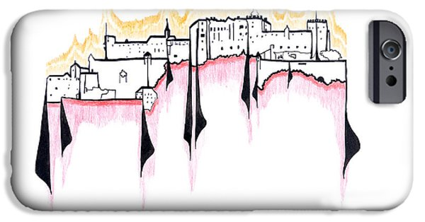 Built Structure Drawings iPhone Cases - Salzburg iPhone Case by Peter Hermes Furian