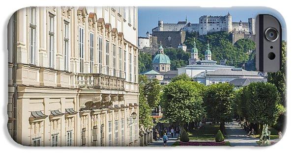 Facade iPhone Cases - SALZBURG Wonderful View to Salzburg Fortress iPhone Case by Melanie Viola